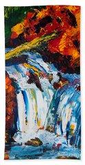 Log And Waterfall Beach Towel
