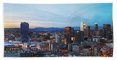 Los Angeles Skyline Beach Towel by Kelley King