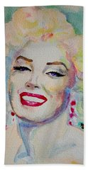Beach Towel featuring the painting Marilyn by Laur Iduc