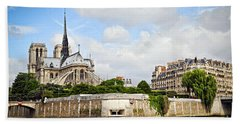 Notre Dame De Paris Beach Towel by Elena Elisseeva