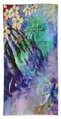 Beach Towel featuring the painting Praying Hands Flowers And Cross by Annie Zeno