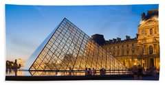 Pyramid In Front Of A Museum, Louvre Beach Towel by Panoramic Images