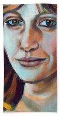 Beach Sheet featuring the painting Self Portrait  by Helena Wierzbicki