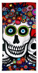 Beach Towel featuring the painting 3 Skulls by Pristine Cartera Turkus