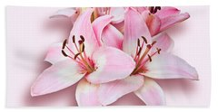 Spray Of Pink Lilies Beach Towel by Jane McIlroy