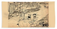 Beach Sheet featuring the drawing Tammy  Meets Cedric The Mongoose by Reynold Jay