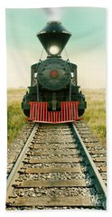 Vintage Train Engine Beach Towel by Jill Battaglia