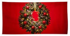 Advent Wreath Over Red Background Beach Towel