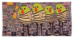 4 Calling Birds Beach Towel