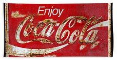 Coca Cola Vintage Rusty Sign Black Border Beach Towel