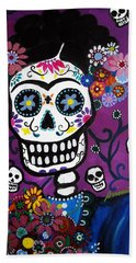 Frida Dia De Los Muertos Beach Sheet by Pristine Cartera Turkus