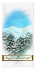 Happy Holidays. Best Christmas Gift Beach Towel by Oksana Semenchenko