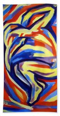 Beach Towel featuring the painting Here by Helena Wierzbicki