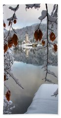 Lake Bohinj In Winter Beach Towel