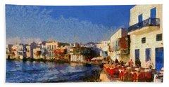 Little Venice In Mykonos Island Beach Sheet