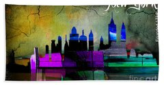 New York Skyline Watercolor Beach Towel by Marvin Blaine