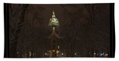Notre Dame Golden Dome Snow Poster Beach Sheet by John Stephens