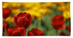 Red And Yellow Tulips Beach Towel by Nailia Schwarz