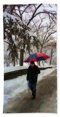 Snowfall In Central Park Beach Towel