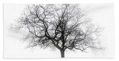 Winter Tree In Fog Beach Sheet