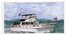 42 Foot Grand Banks Motoryacht Beach Towel by Jack Pumphrey