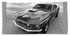 428 Cobra Jet Mach1 Ford Mustang 1969 In Black And White Beach Sheet