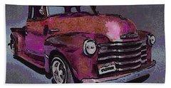 48 Chevy Truck Pink Beach Towel