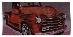48 Chevy Truck Red Beach Towel