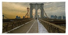 Beach Towel featuring the photograph Brooklyn Bridge by Jerry Gammon