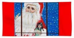 Beach Towel featuring the painting Christmas Card by Nora Shepley