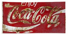 Coca Cola Vintage Rusty Sign Beach Sheet by John Stephens