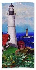 Lighthouse Hill Beach Towel by Linda Simon