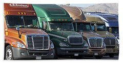 Semi Truck Fleet Beach Towel