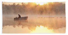 Sunrise In Fog Lake Cassidy With Fisherman In Small Fishing Boat Beach Sheet