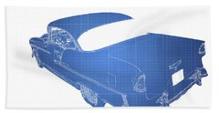 Old Cars Beach Towel featuring the photograph '55 Bel Air by Aaron Berg