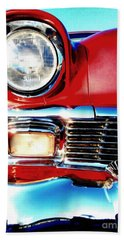 56 Chevy Bel Air Red American Classic Car  Beach Towel