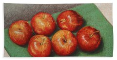 6 Apples Washed And Waiting Beach Towel