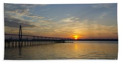 Beach Towel featuring the photograph Arthur Ravenel Bridge Tranquil Sunset by Dale Powell