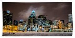 Charlotte Queen City Skyline Near Romare Bearden Park In Winter Snow Beach Towel