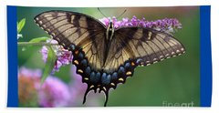 Eastern Tiger Swallowtail Butterfly On Butterfly Bush Beach Sheet