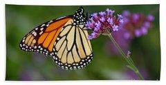 Monarch Butterfly In Garden Beach Towel