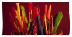 Multi Colored Paint Brushes Beach Sheet