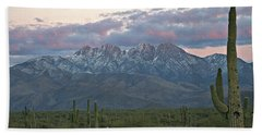 Four Peaks Sunset Snow Beach Towel