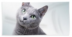 Russian Blue Cat Beach Towel