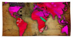 World Map Watercolor Beach Towel by Marvin Blaine