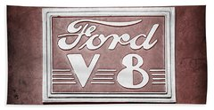 1940 Ford Deluxe Coupe Emblem Beach Towel
