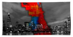 Chicago Map And Skyline Watercolor Beach Towel