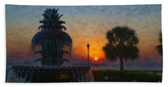 Pineapple Fountain At Dawn Beach Towel