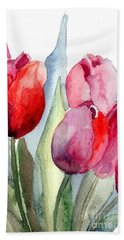 Tulips Flowers Beach Towel