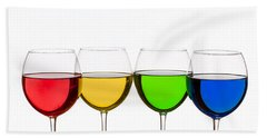 Colorful Wine Glasses Beach Towel